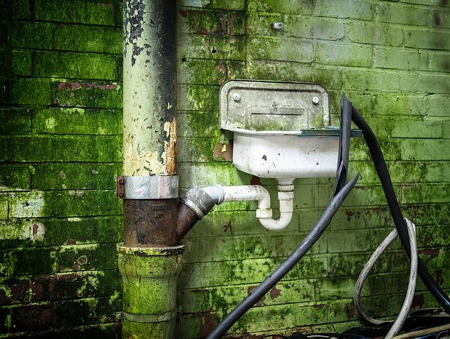 Ein Waschbecken hängt an einer bemoosten Außenwand. Über einen Siphon ist es an ein Rohr angeschlossen.
