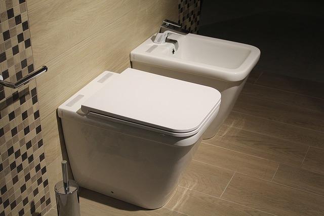 In einem gekachelten Bad steht ein Bidet neben einem WC