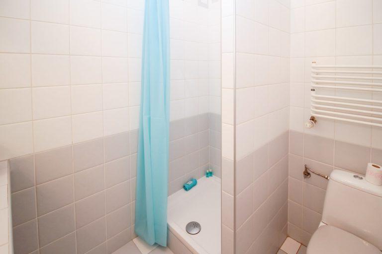 Man sieht ein gefliestes Badezimmer mit einer Dusche, einer Toilette und einer Handtuchheizung. Vor der Dusche hängt ein hellblauer Duschvorhangn und in der Dusche stehen hellblaue Utensilien farblich passend. Auf dem Toilettenspülkasten liegt eine Rolle Klopapier. Die Fließen sind im unteren Bereich des Badezimmers grau und im oberen Bereich weiß.